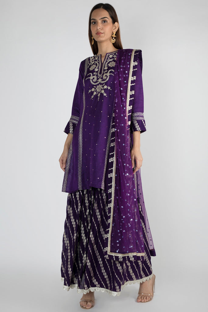 Neemrana Sharara Set- Purple-Sharara Set-Gopi Vaid Designs