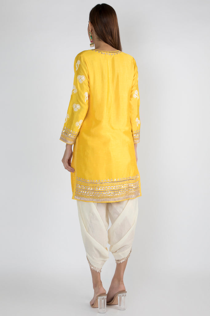 Bani Yellow Tunic with Dhoti-Tunic Set-Gopi Vaid Designs