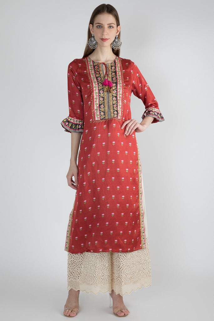Vrindavan Tunic- Red-Tunic-Gopi Vaid Designs