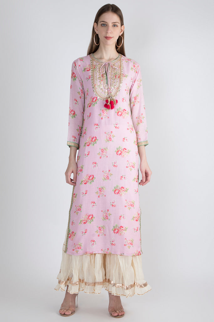 Rose Light Tunic- Pink-Tunic-Gopi Vaid Designs