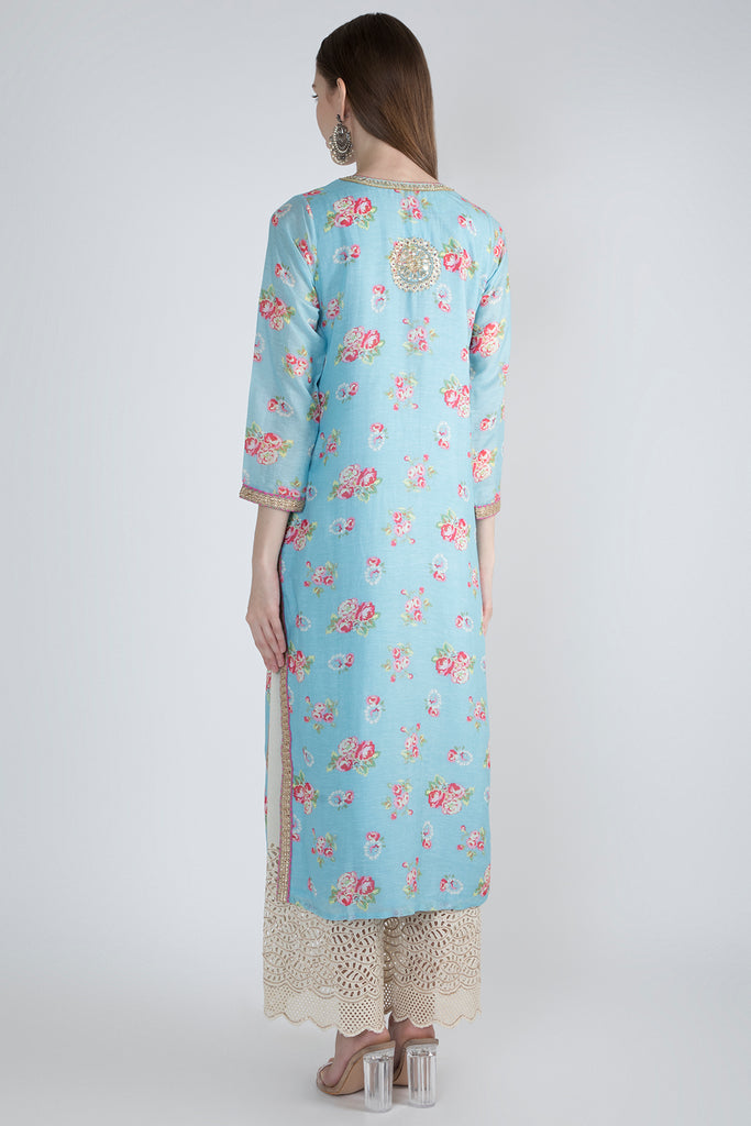 Rose Blue Tunic-Tunic-Gopi Vaid Designs