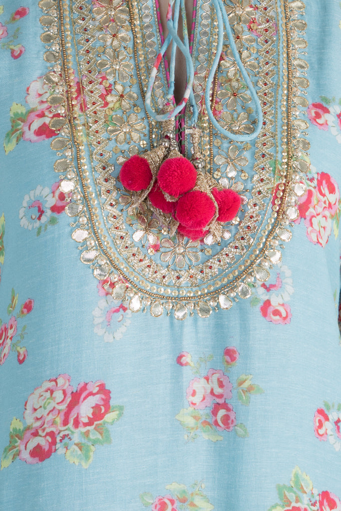 Rose Tunic- Blue-Tunic-Gopi Vaid Designs