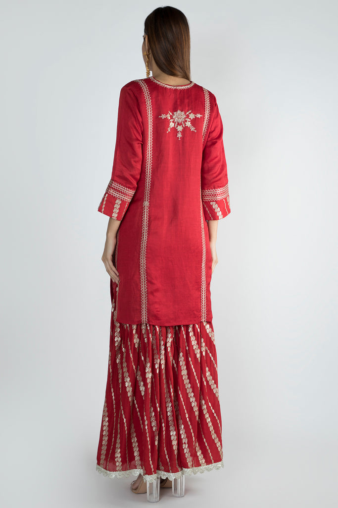 Neemrana Sharara Set- Red-Sharara Set-Gopi Vaid Designs