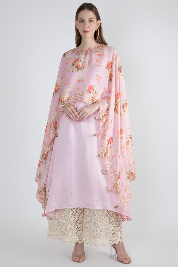 Bagh Pink Cape Dress-Tunic-Gopi Vaid Designs