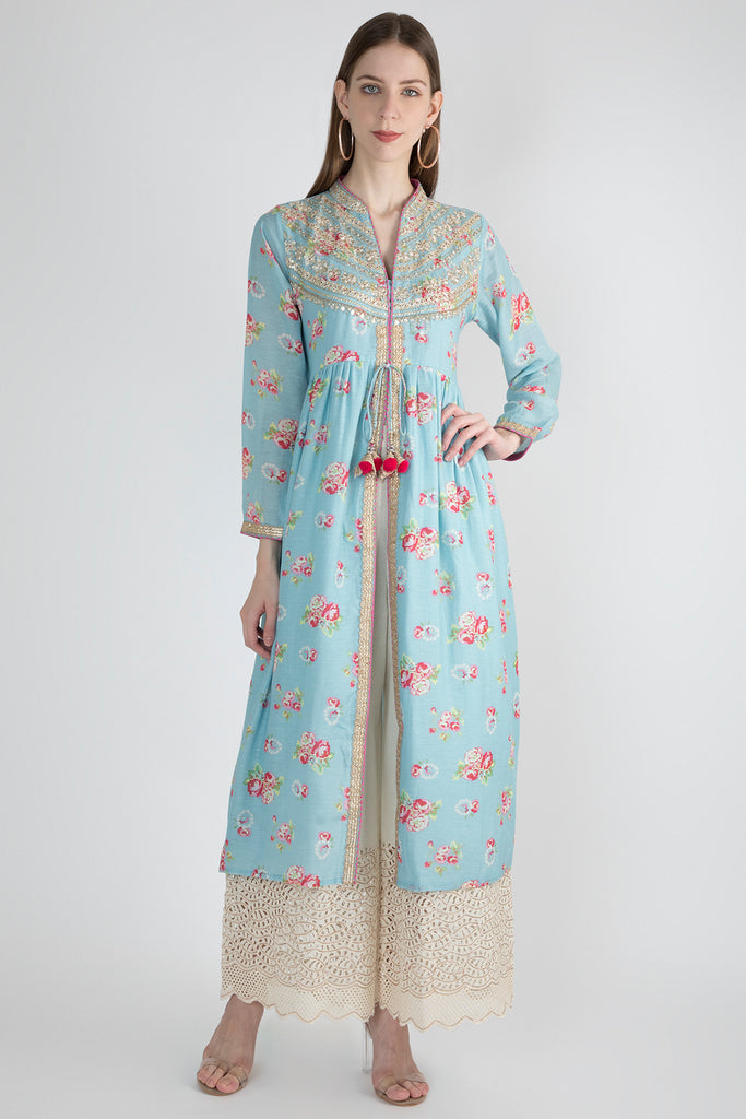 Rose Blue Jacket Style Tunic-Tunic-Gopi Vaid Designs