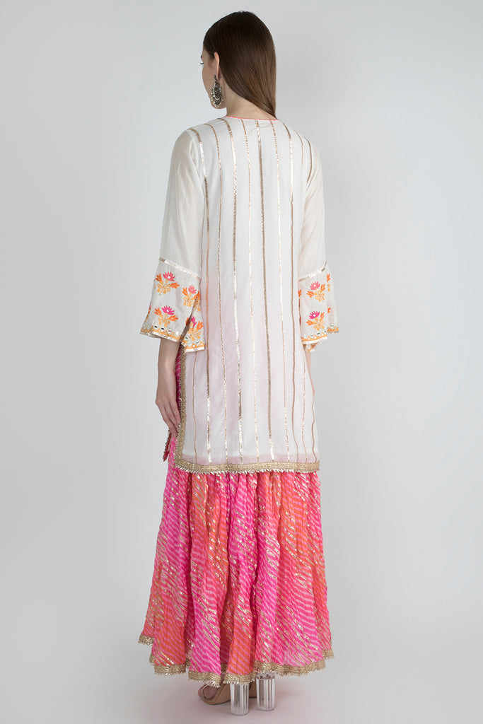 Nahar Tunic with Sharara- White-Sharara Set-Gopi Vaid Designs