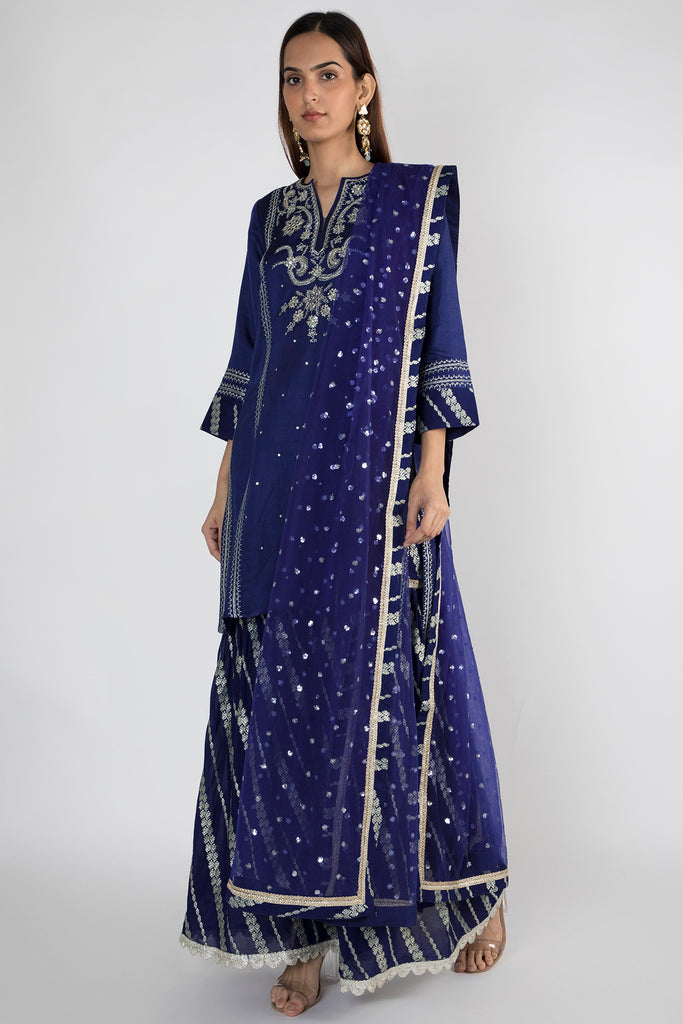 Neemrana Sharara set- Navy-Sharara Set-Gopi Vaid Designs