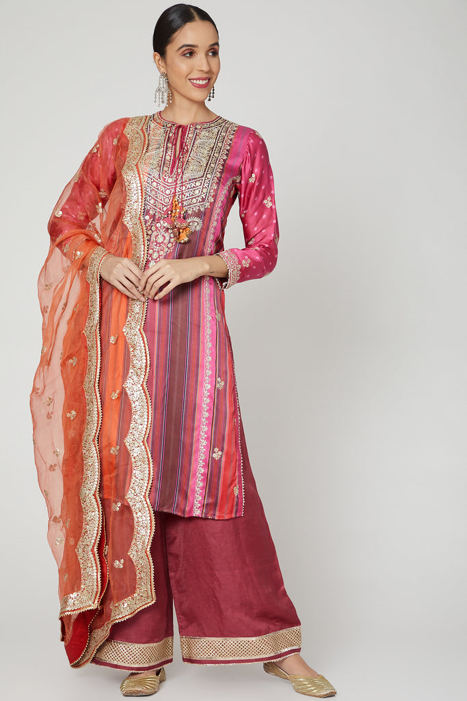 Begum Rati Set- Red-Palazzo Set-Gopi Vaid Designs