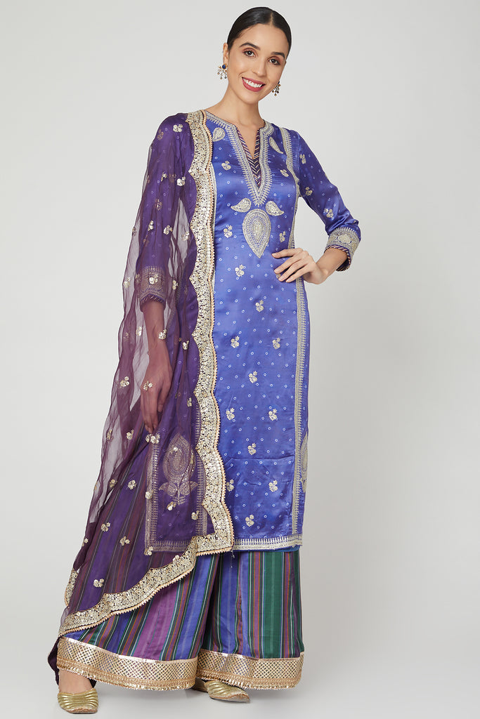Begum Abha Set- Purple-Kurta Set-Gopi Vaid Designs