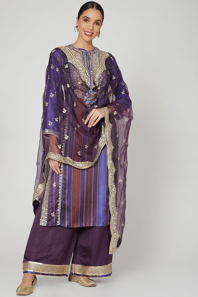 Begum Rati Set- Purple-Palazzo Set-Gopi Vaid Designs