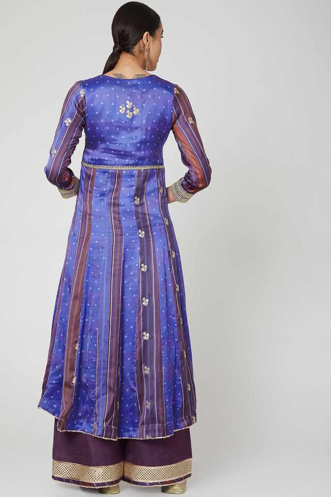 Begum Anarkali Set- Purple-Anarkali-Gopi Vaid Designs