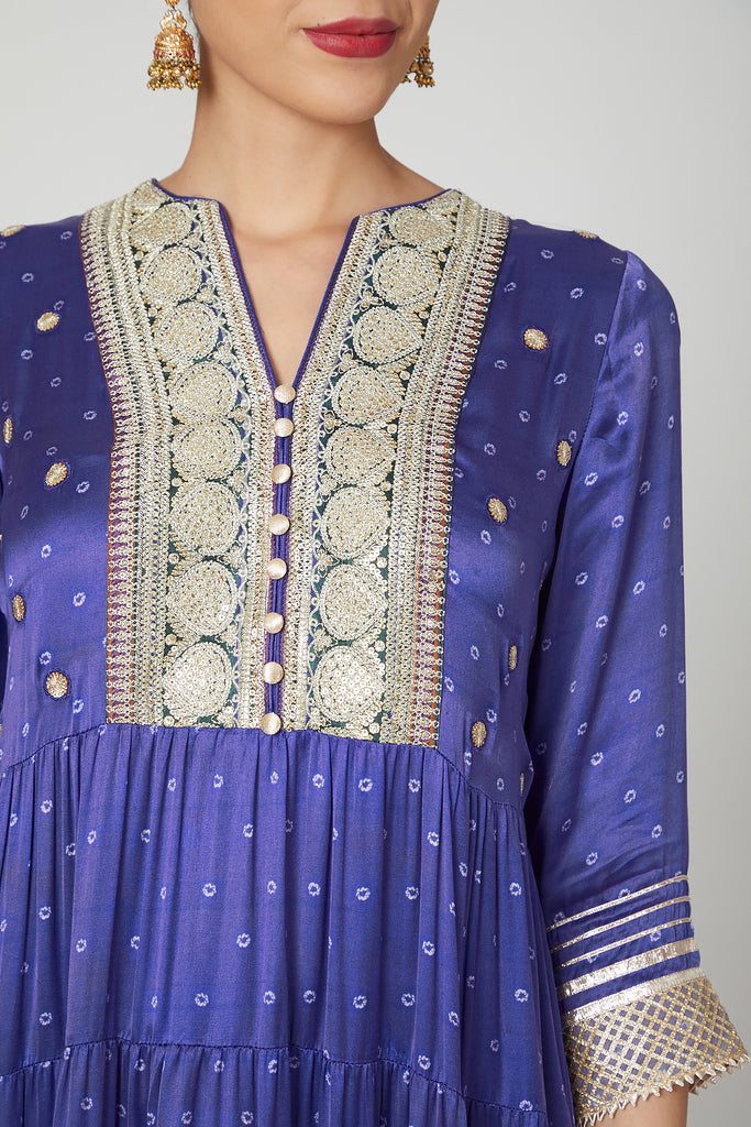 Begum Tiered AG Set- Purple-Tunic Set-Gopi Vaid Designs
