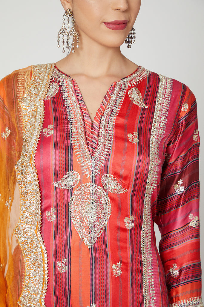 Begum Sharara Set- Red-Sharara Set-Gopi Vaid Designs