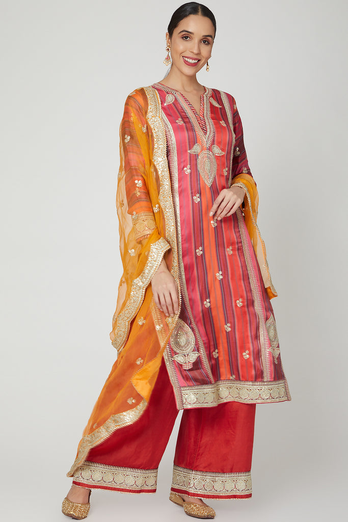 Begum Abha Set- Red-Palazzo Set-Gopi Vaid Designs