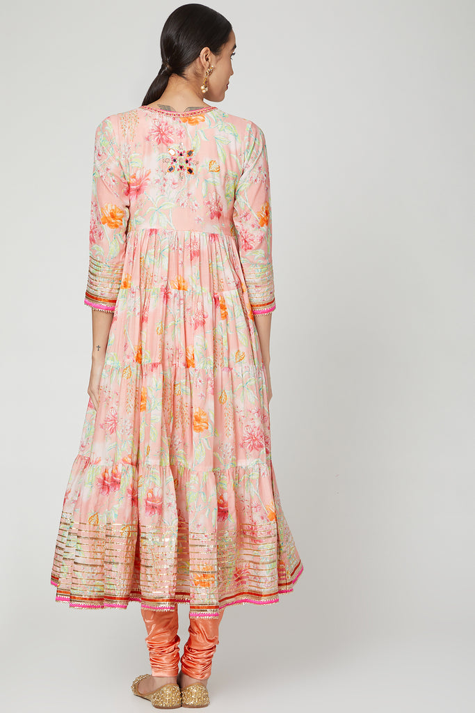 Utsav Tiered AG with Churidar- Pink-Anarkali-Gopi Vaid Designs