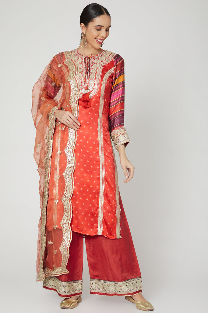 Begum Kali Kurta Set- Red-Kurta Set-Gopi Vaid Designs