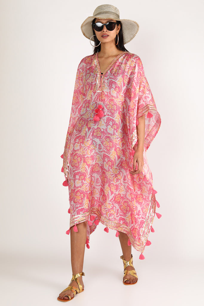 Kaftan by the beach - Pink-Kaftan-Gopi Vaid Designs