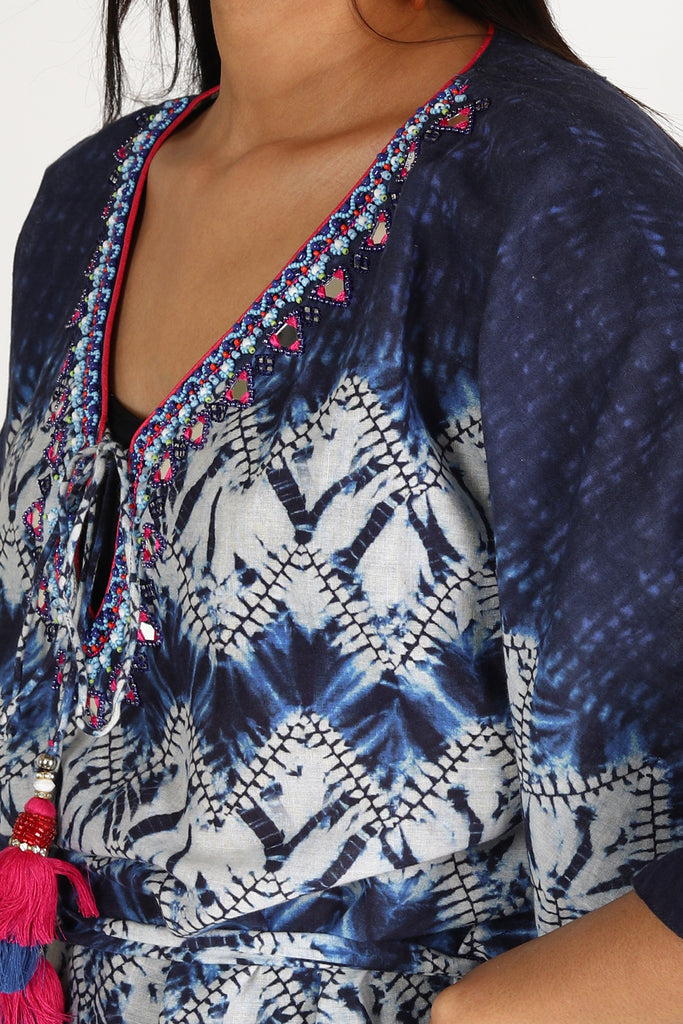 Kaftan by the beach - White/Blue-Kaftan-Gopi Vaid Designs