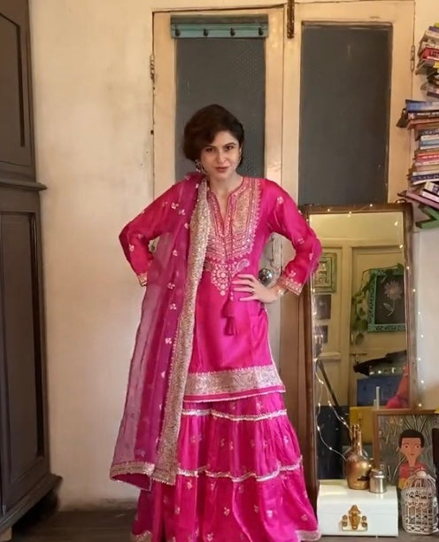 Sherry Shroff in Rati Short Set- Pink-Sharara Set-Gopi Vaid Designs