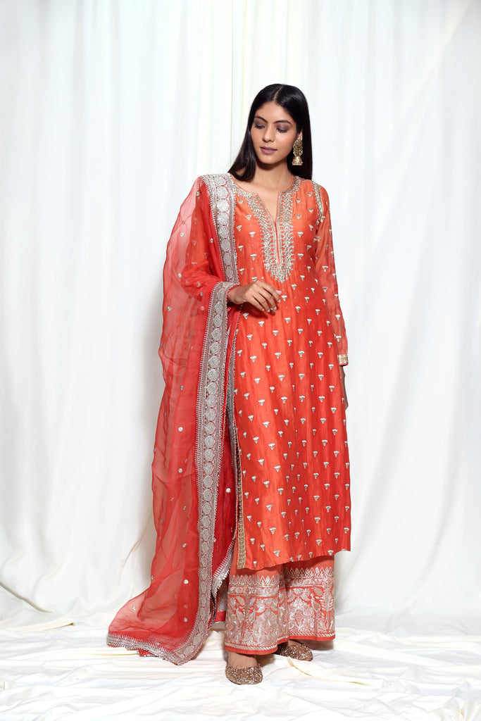 Meera Tunic Set- Orange-Tunic Set-Gopi Vaid Designs