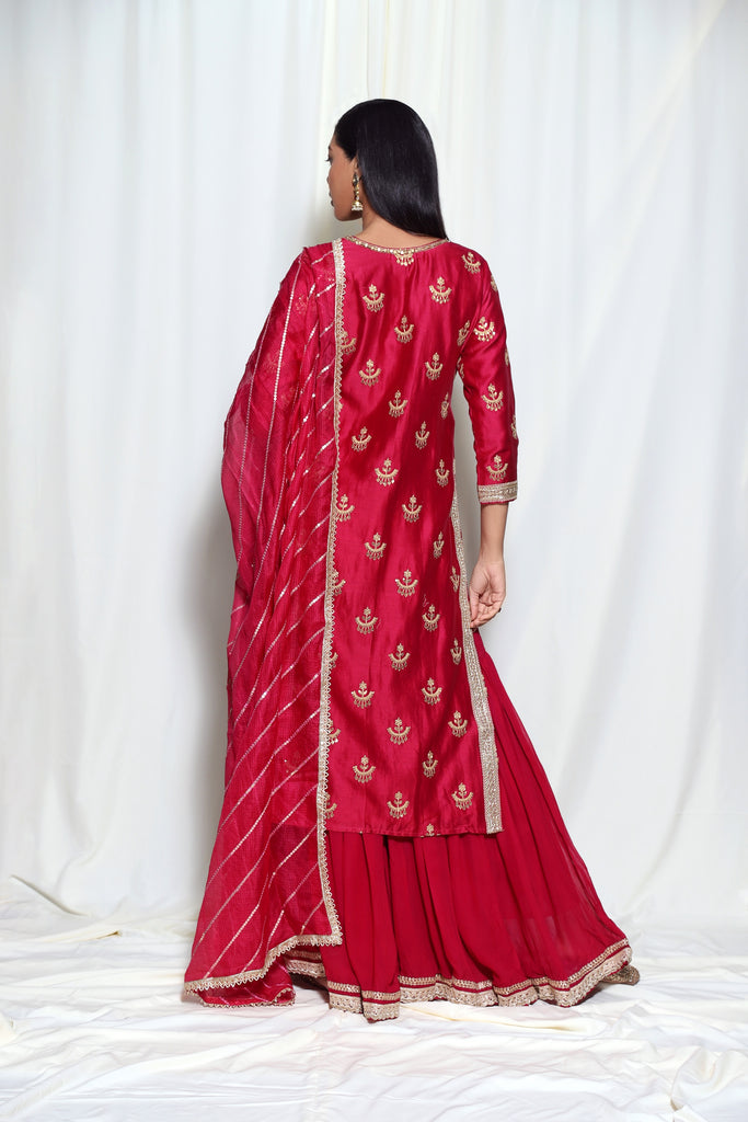Chandbali Tunic Set- Red-Kurta Set-Gopi Vaid Designs