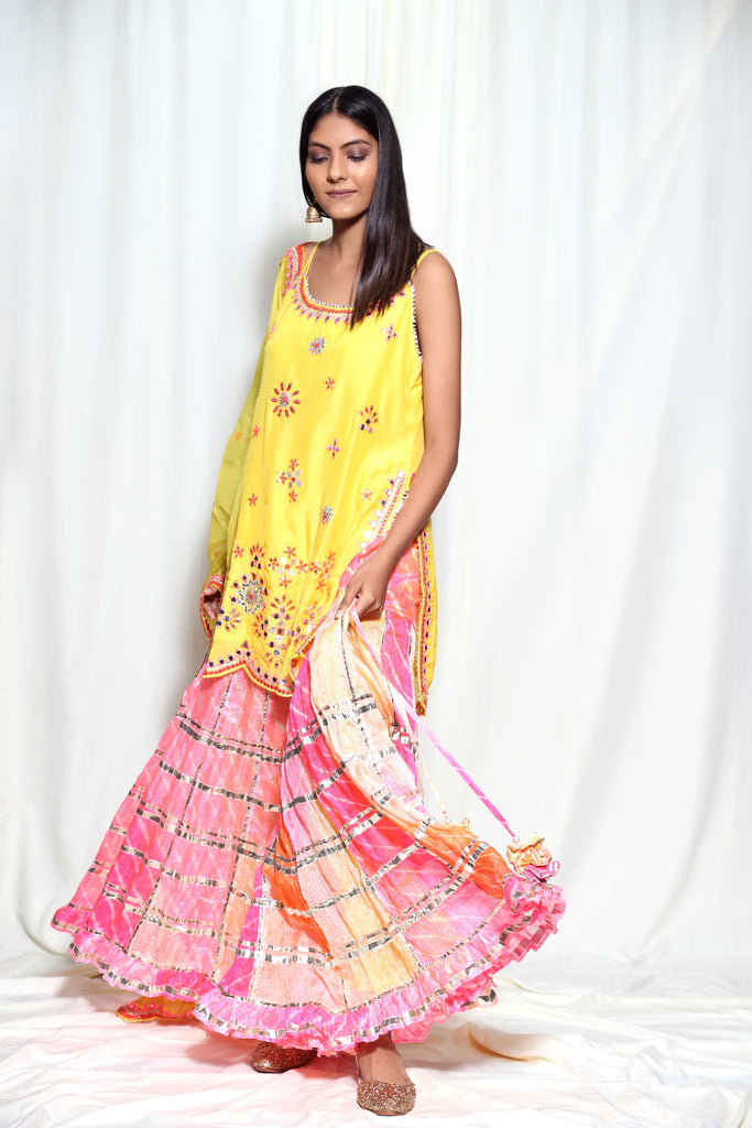 Mela Strappy Set- Yellow-Tunic Set-Gopi Vaid Designs