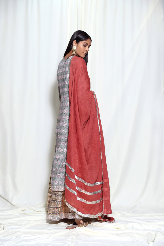 Sanganer 2 Layer- Grey-Tunic Set-Gopi Vaid Designs