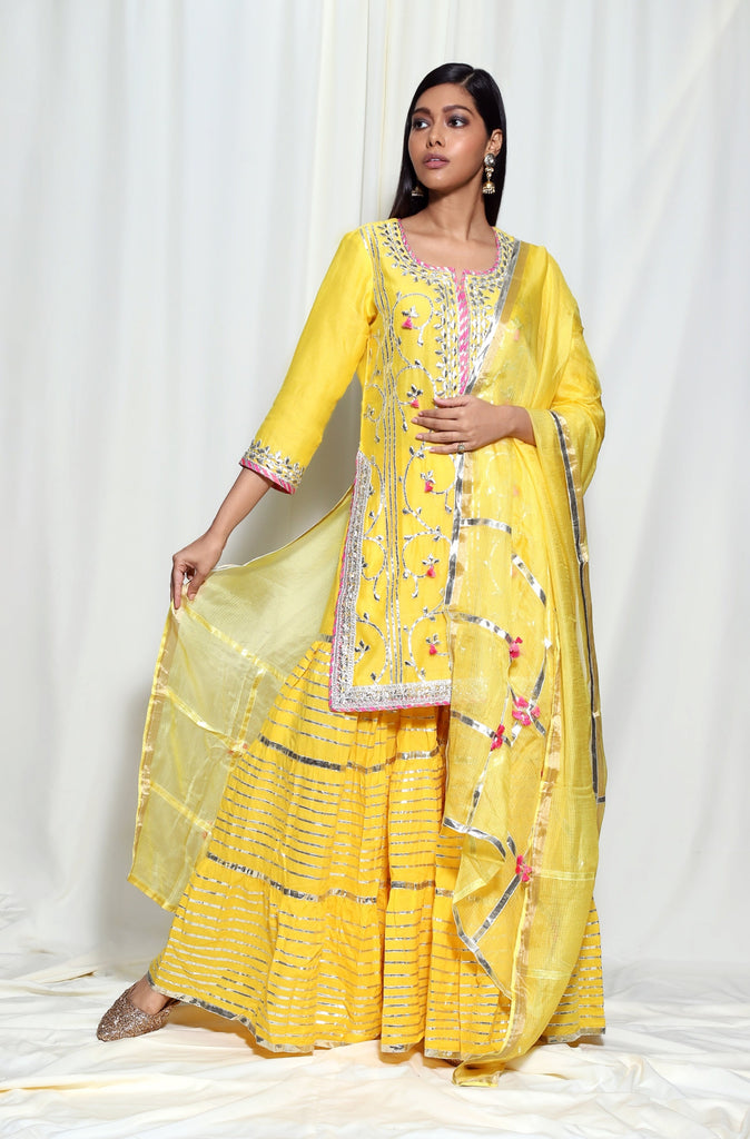 Champa Short Set- Yellow-Sharara Set-Gopi Vaid Designs