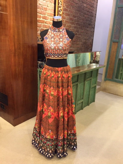 Mirror Lehenga Set-Orange-Lehenga-Gopi Vaid Designs