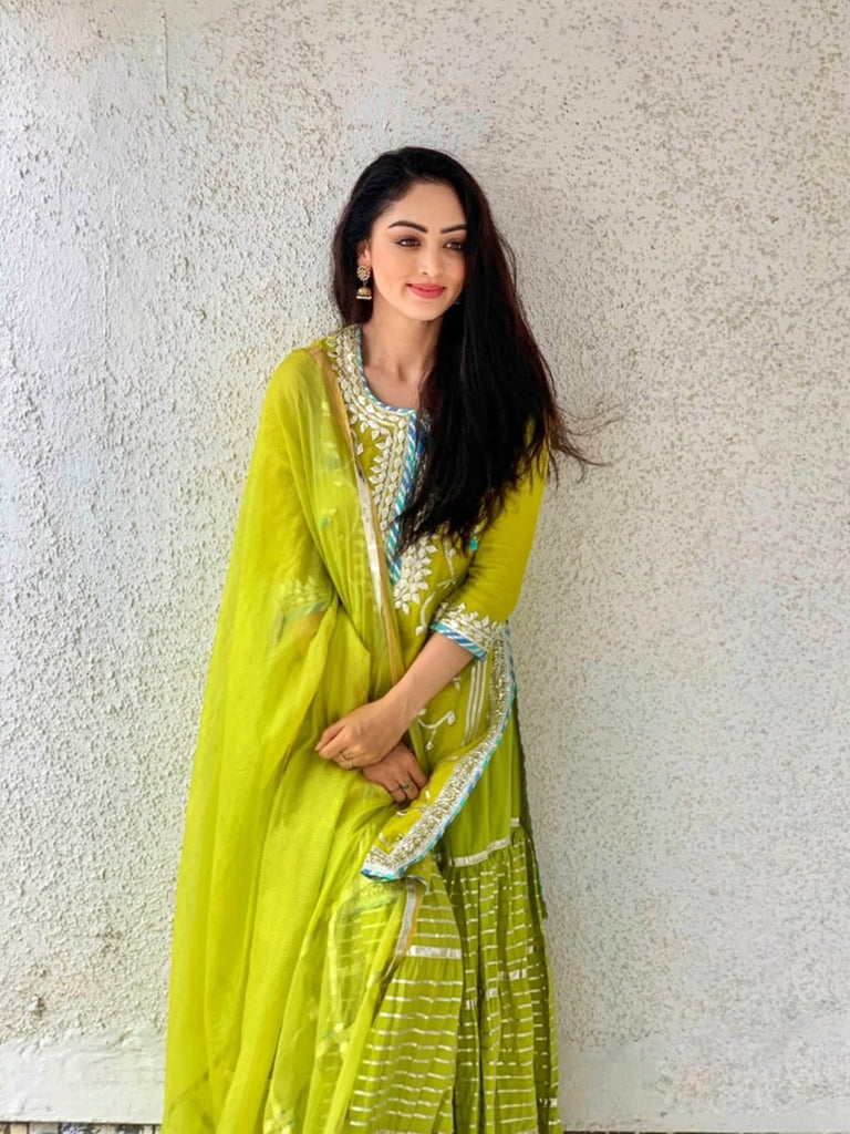 Sandeepa Dhar in Champa Sharara Set - Green-Sharara Set-Gopi Vaid Designs