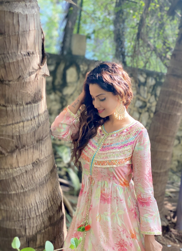 Adaa Khan in Utsav Jacket with Sharara- Pink-Sharara Set-Gopi Vaid Designs