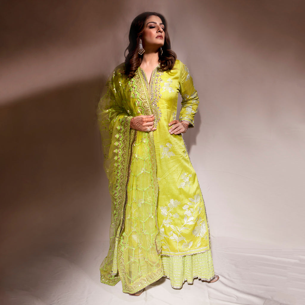 Raveena Tandon | Golconda Green Sharara Set-Sharara Set-Gopi Vaid Designs