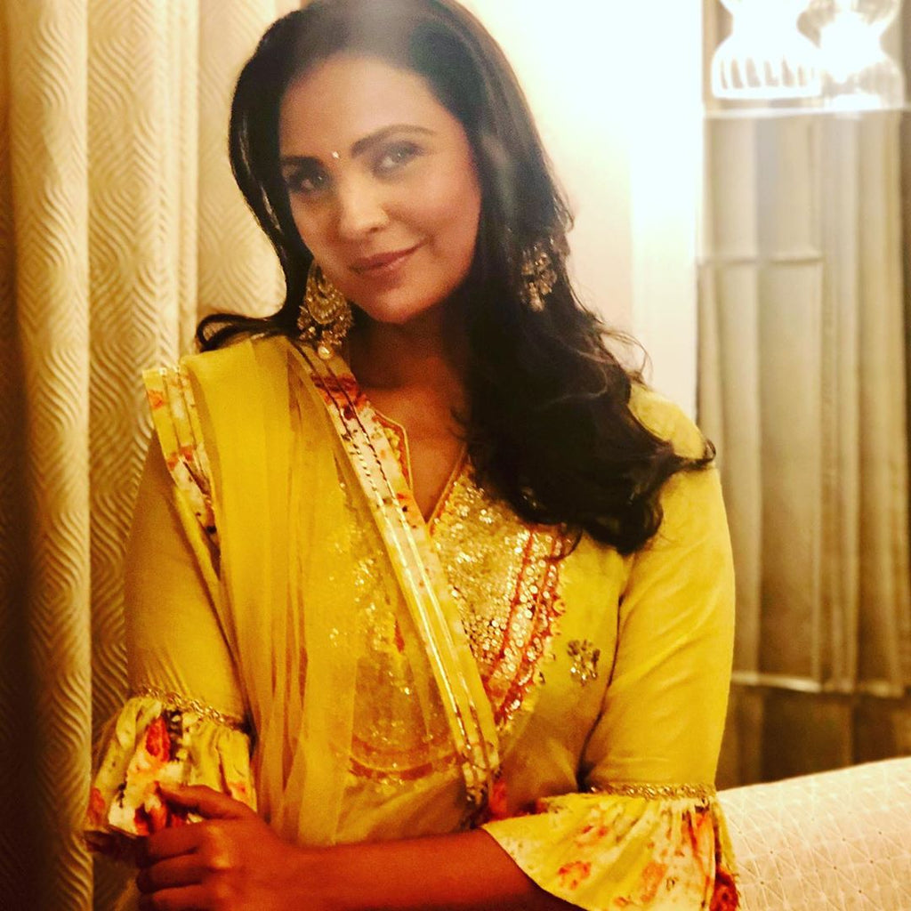 Lara Dutta | Bagh Yellow Two Layer Set-Garara Set-Gopi Vaid Designs