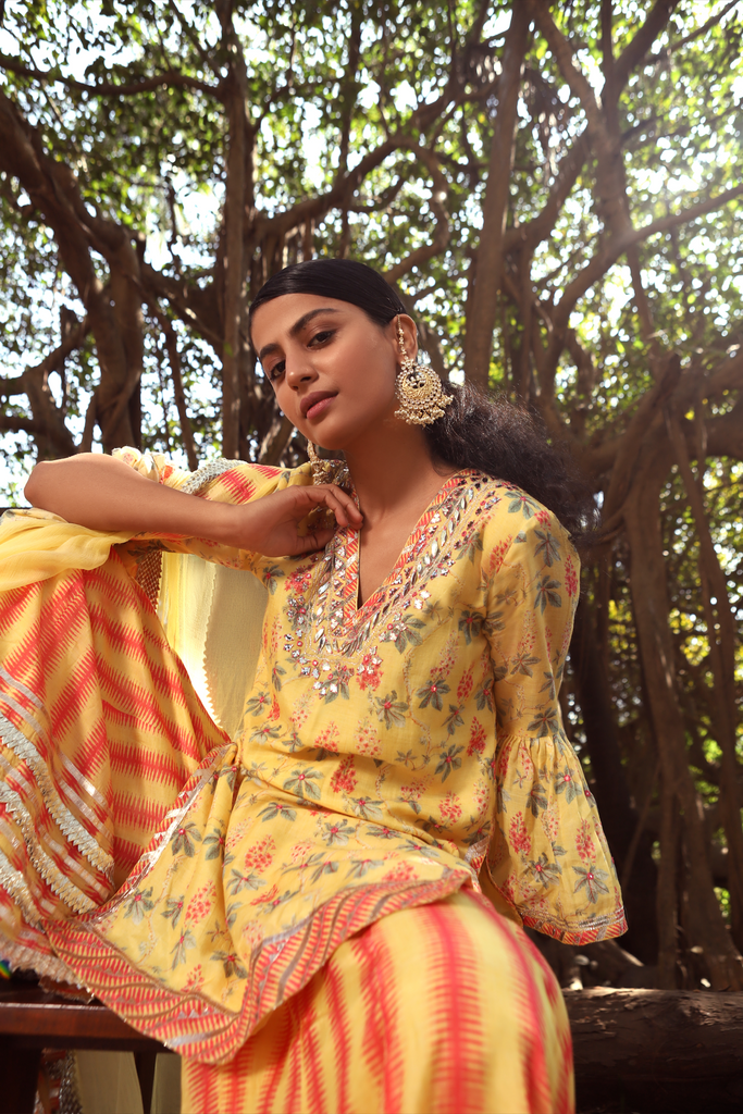 Radha Yellow Sharara Set-Sharara Set-Gopi Vaid Designs
