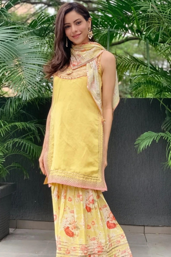Aamna Sharif in Bagh Sharara Set - Yellow-Sharara Set-Gopi Vaid Designs