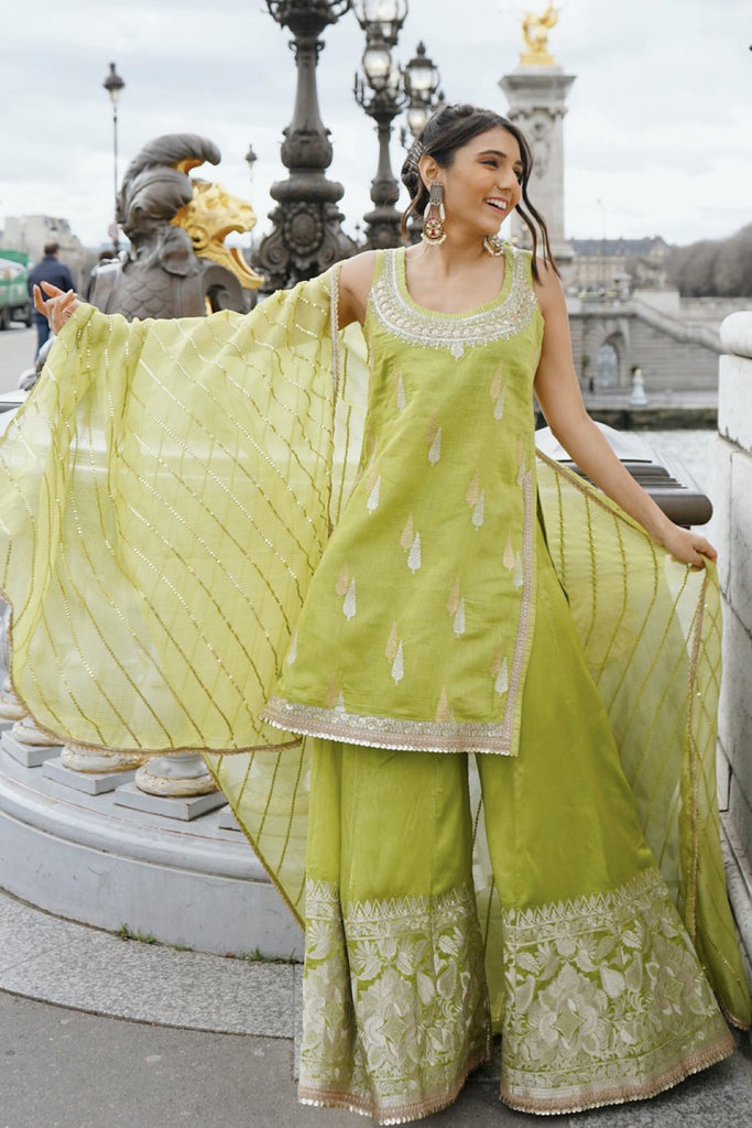 Masoom Minawala in Rani Set- Green-Sharara Set-Gopi Vaid Designs