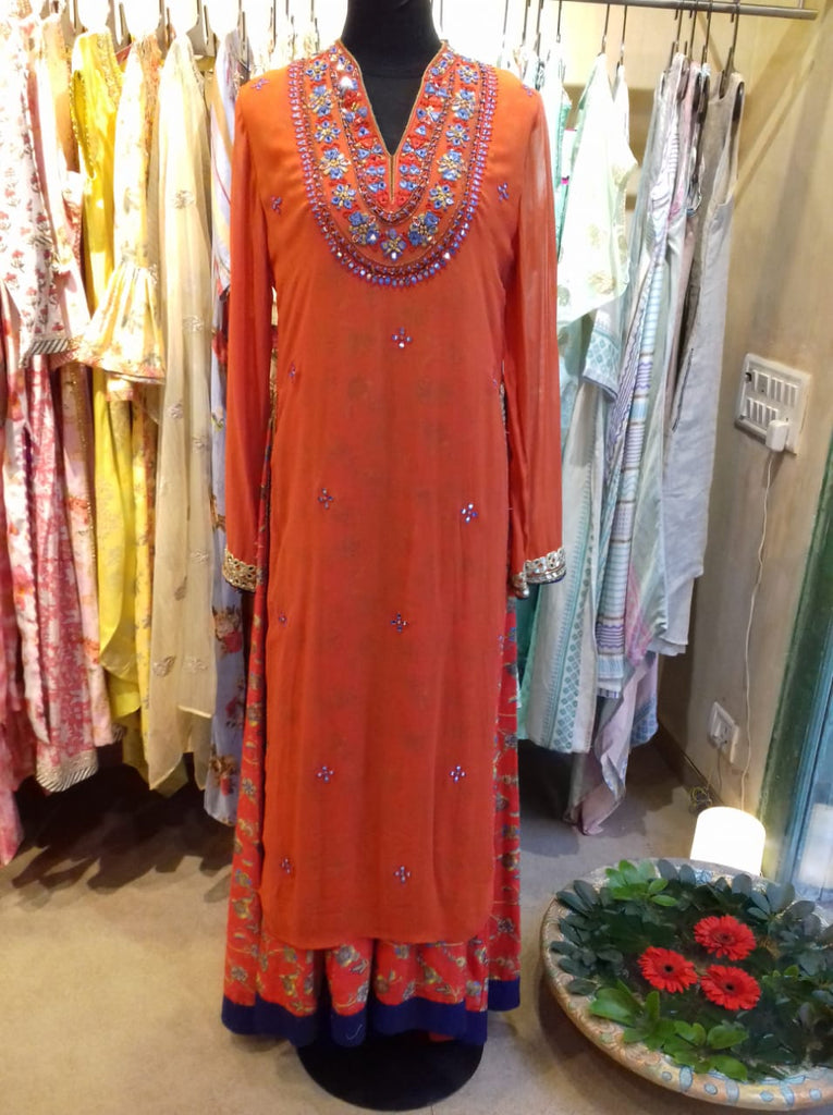 Rambagh orange-Tunic-Gopi Vaid Designs