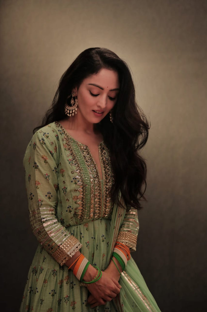 Sandeepa Dhar in Mogra Layered Set- Green-Anarkali-Gopi Vaid Designs
