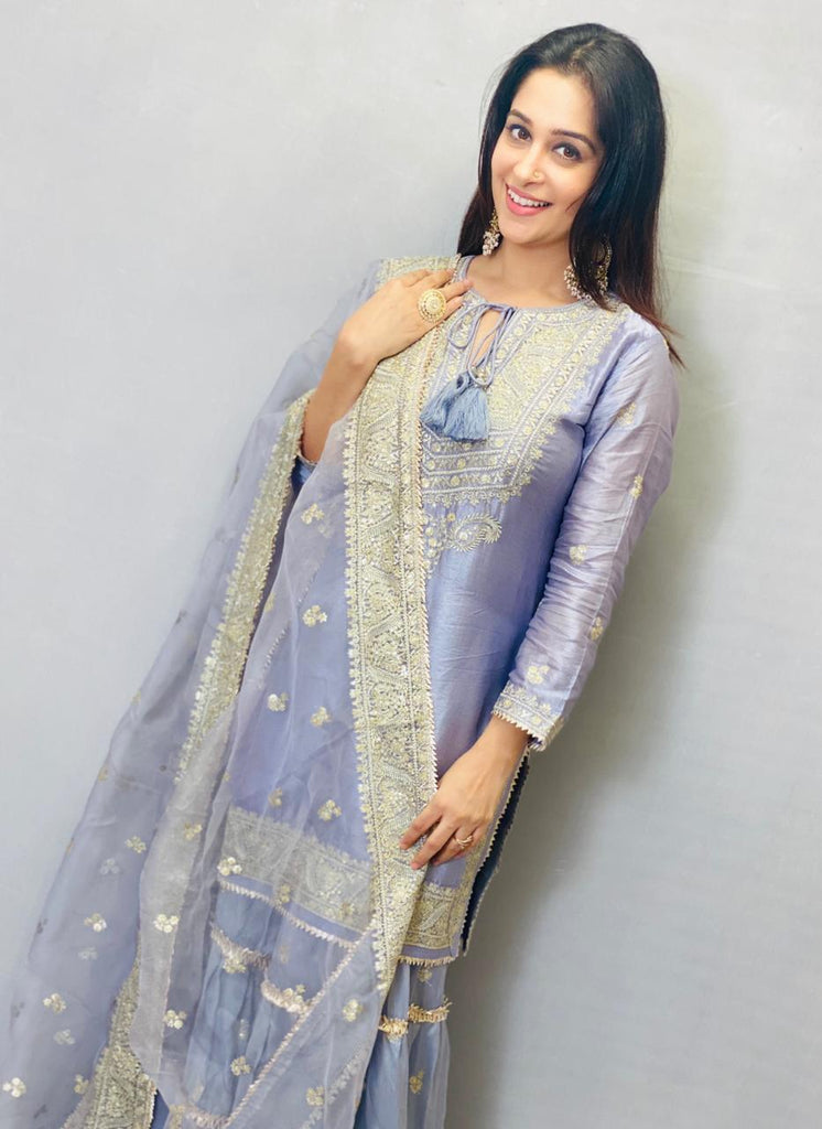 Dipika in Rati Short Set- Lilac-Sharara Set-Gopi Vaid Designs