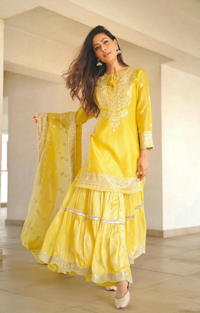Swati Vatssa in Rati Short Set- Yellow-Sharara Set-Gopi Vaid Designs