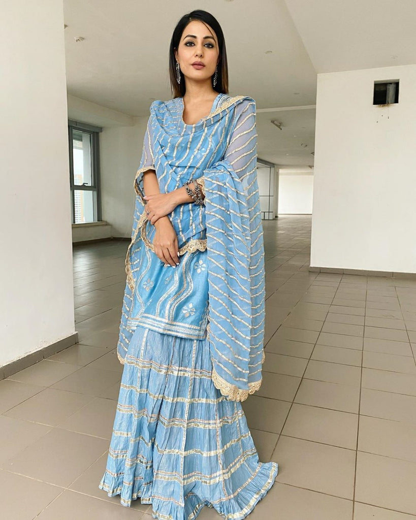 Hina Khan in Shekhawat Sharara Set - Blue-Sharara Set-Gopi Vaid Designs