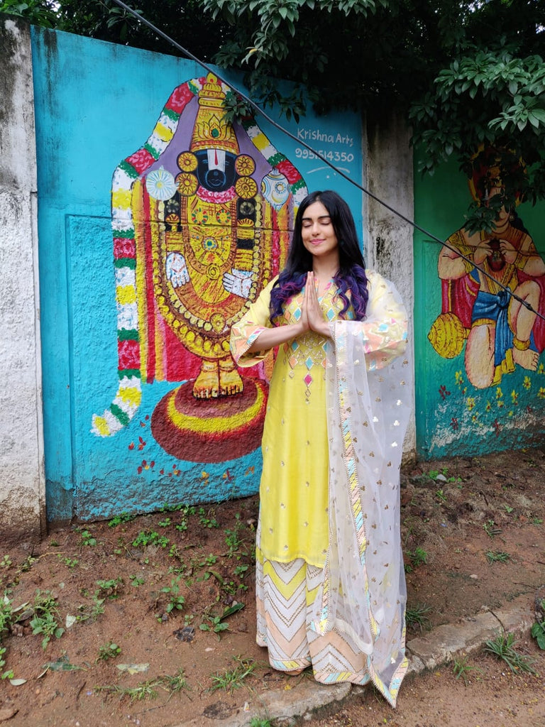 Adah Sharma in Rangela tunic sharara set- Yellow-Sharara Set-Gopi Vaid Designs