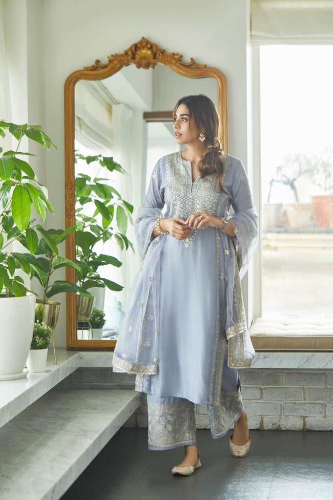 House of Misu Summiyya in Rati Long Set- Lilac-Palazzo Set-Gopi Vaid Designs