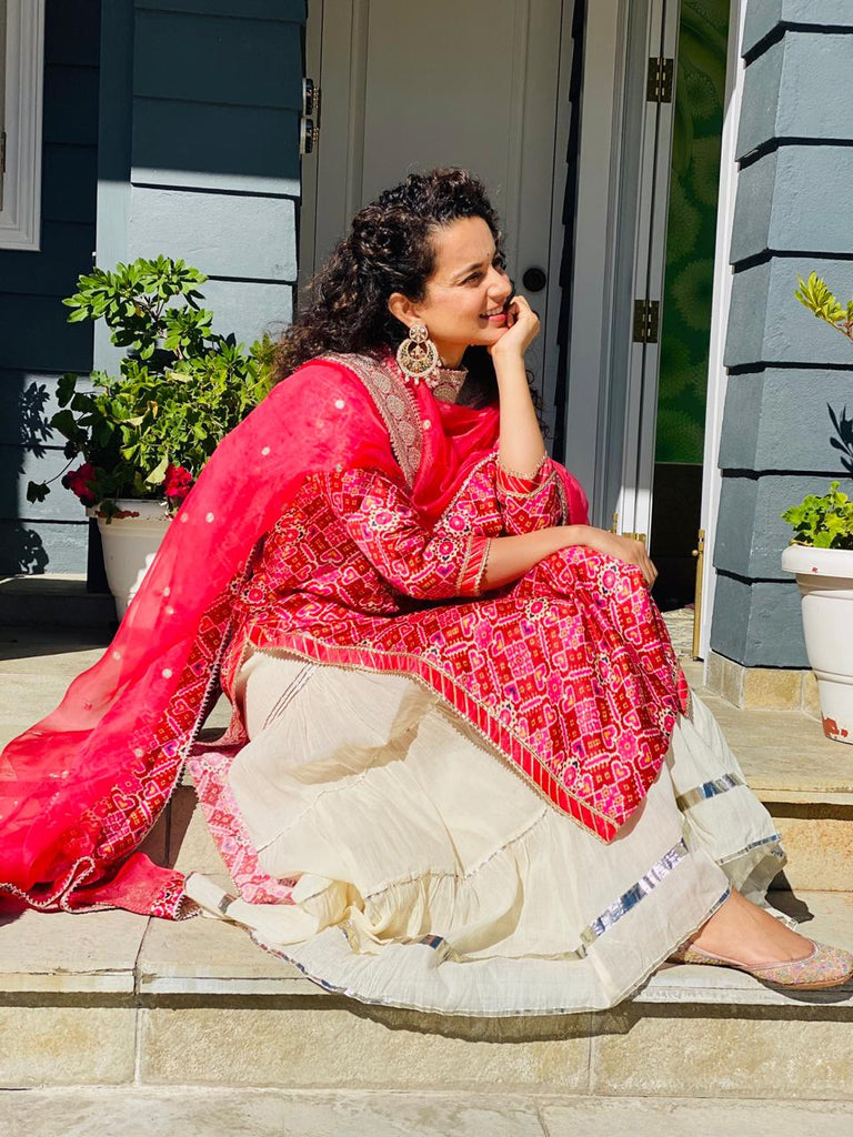 Kangana Ranaut in Patola Tunic Set- Red/Pink-Sharara Set-Gopi Vaid Designs
