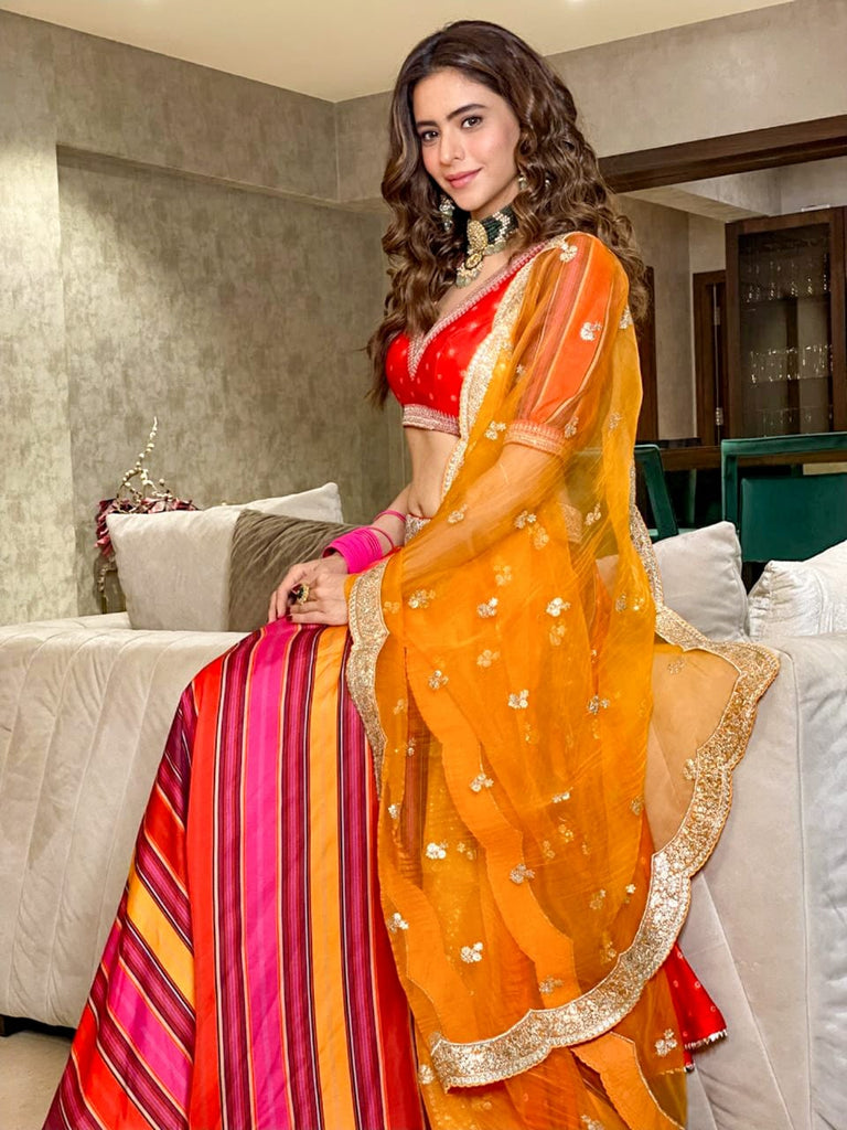 Aamna Sharif in Begum Lehenga Set- Red-Lehenga-Gopi Vaid Designs