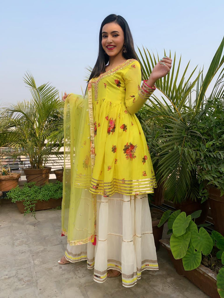 Ankita Sharma in Ahilya Sharara Set- Yellow-Sharara Set-Gopi Vaid Designs
