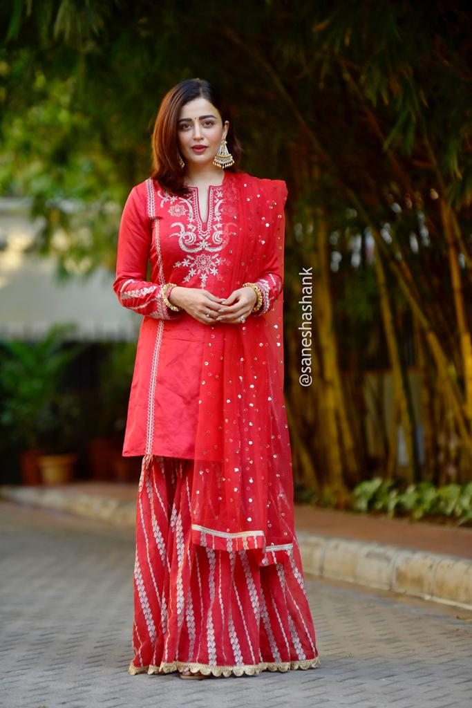 Neha Pendse in Neemrana Sharara Set- Red-Sharara Set-Gopi Vaid Designs