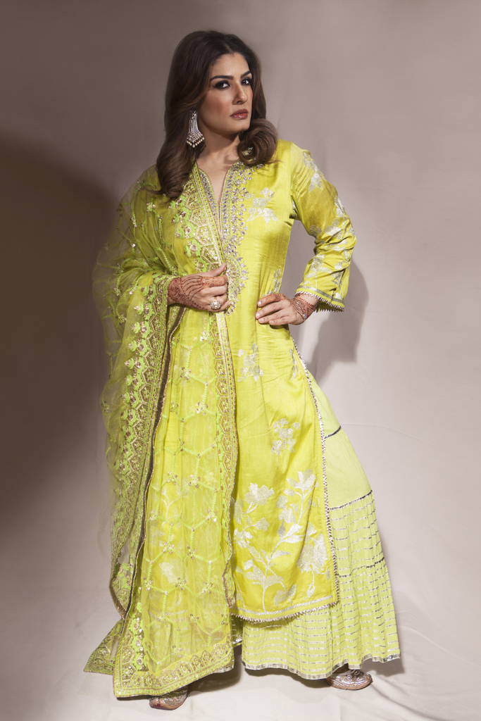 Raveena Tandon in Golconda Sharara Set- Green-Sharara Set-Gopi Vaid Designs