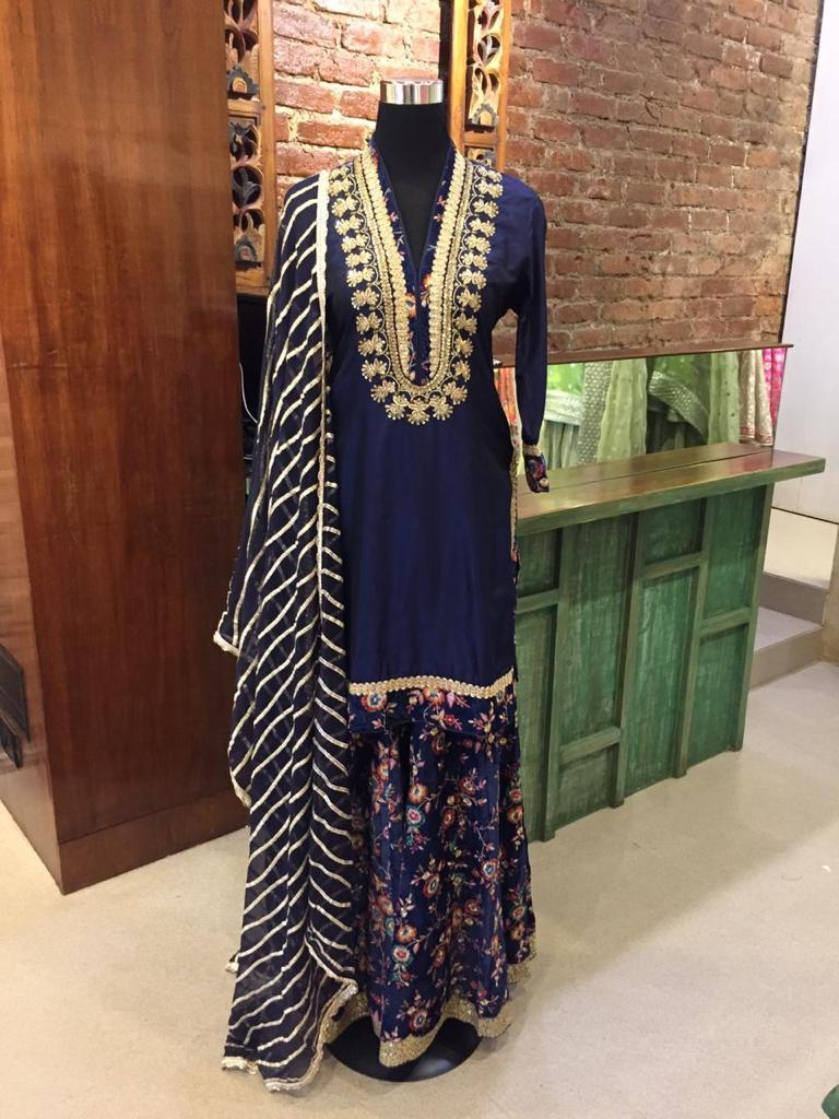 Nafisa Set - Blue-Sharara Set-Gopi Vaid Designs