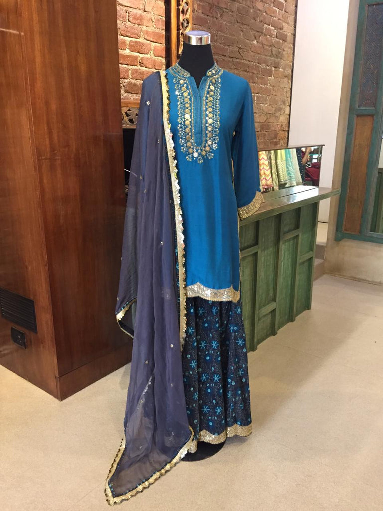 Neema Velvet Sharara Set - Blue-Sharara Set-Gopi Vaid Designs